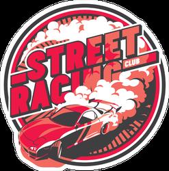 JDM Street Racing Club Burnout Car Circle Sticker