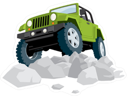 Jeep Driving Over Rocks Sticker