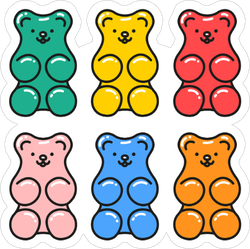 Jelly Gummy Bears Cartoon Sticker