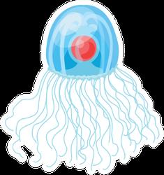 Jellyfish Cartoon Red Dot Sticker