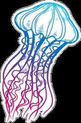 Jellyfish Doodle Illustration In Color Sticker