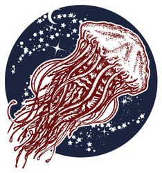 Jellyfish Floats In Deep Space Universe Art Sticker