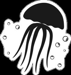 Jellyfish Icon Illustration In Black Sticker