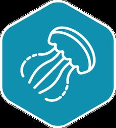 Jellyfish Icon Turquoise Sticker