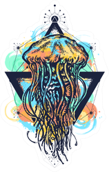 Jellyfish Tattoo Geometric Watercolor Splashes Sticker