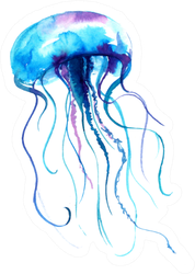 Jellyfish Watercolor Illustration In Blue Sticker