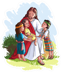 Jesus And Children Painting Sticker