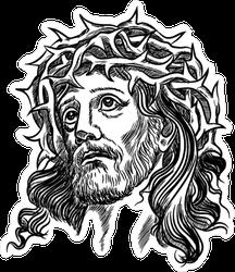 Jesus in Crown of Thorns Sticker