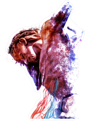 Jesus on the Cross Abstract Painting Sticker