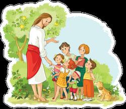 Jesus With Children Color Illustration Sticker