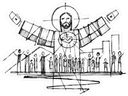 Jesus with Open Arms and People Sticker