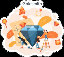 Jeweler And Jewelry Concept Idea Of Creative Profession Sticker