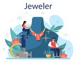 Jeweler Concept Blown Up Illustration Sticker
