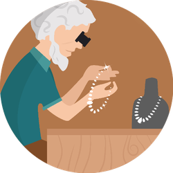 Jeweler. Profession. Cartoon Character Inspecting Jewels Sticker