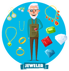 Jeweler Professional Man With Items For Work Sticker