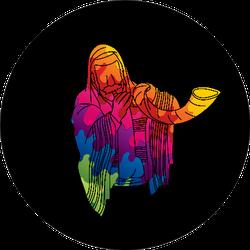 Jewish Blowing The Shofar Horn Colorful Cartoon Sticker