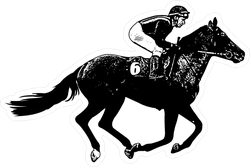 Jockey Galloping Race Horse Sticker