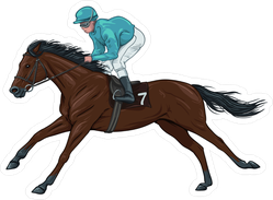 Jockey On A Brown Racehorse Sticker