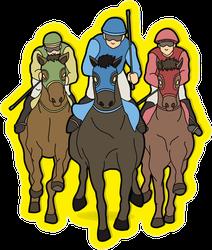 Jockeys Riding Horses Sticker