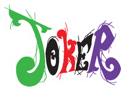 Joker With Vivid Rainbow And Card Pattern Typography Sticker