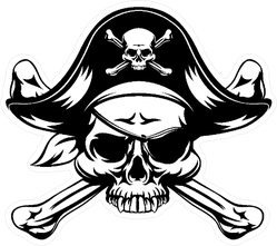 Jolly Roger with Black Hat Sticker