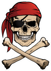 Jolly Roger with Red Bandana Sticker