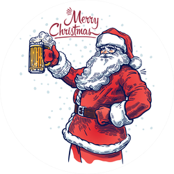 Jolly Santa Claus With A Beer Sticker