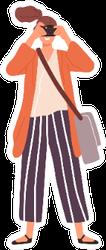 Joyful Woman Taking A Photo Illustration Sticker
