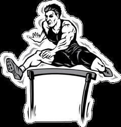 Jumping Athlete Hurdle Illustration Sticker
