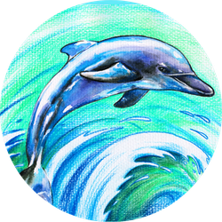 Jumping Blue Dolphin Watercolors And Colored Pencils Sticker