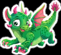 Jumping Green Dragon Sticker