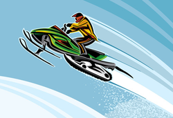 Jumping Green Snowmobile Sticker
