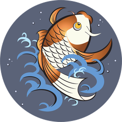 Jumping Koi Fish Sticker
