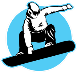 Jumping Snowboarder Blue Circle Sticker