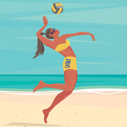 Jumping Volleyball Player On A Beach Sticker