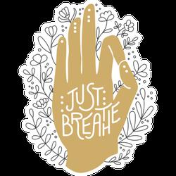 Just Breathe Hand Illustration Sticker