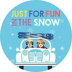 Just For Fun In The Snow Skiing Sticker