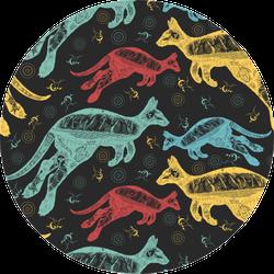 Kangaroo Double Exposure Colorful Pattern Sticker