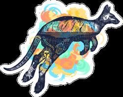 Kangaroo Tattoo Art Watercolor Splashes Style Sticker