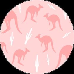 Kangaroo With Cactus Seamless Pattern Pink Sticker
