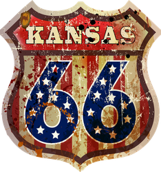 Kansas Route Sixty Six Road Sign Sticker