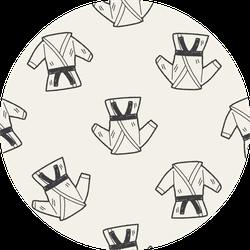 Karate Doodle Seamless Pattern Sticker