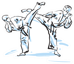 Karate Fighters Illustration Sticker