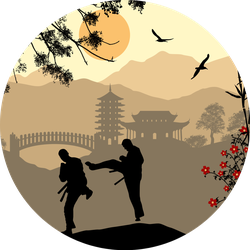 Karate In The Beautiful Asian Landscape Sticker