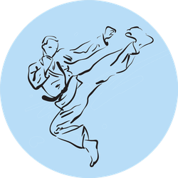Karate Kick Illustration With Blue Sticker