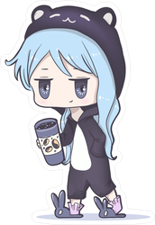 Kawaii Anime Girl with Big Eyes Sticker