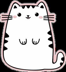Kawaii Cute Fat White Cat Sticker