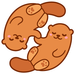 Kawaii Little Otters In Love Sticker