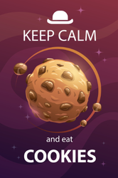Keep Calm And Eat Cookies Space Sticker