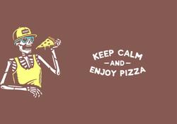 Keep Calm And Enjoy Pizza Skeleton Sticker